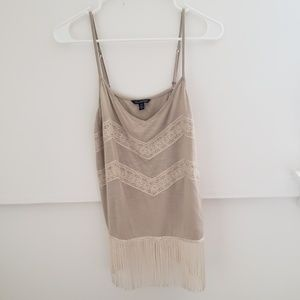 Cream Heather Tank With Lace & Fringe M